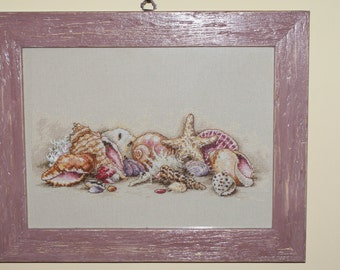 Cross stitch Embroidery shells dimensions handmade framed