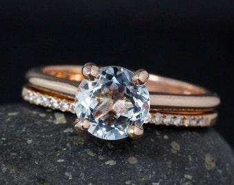 Classic Blue Aquamarine Engagement Ring - Half-Eternity Diamond Wedding Band - Bridal Set