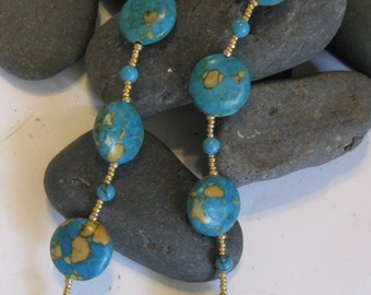 Turquoise with gold matrix necklace