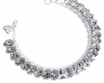 Labra Silver Heart to Heart Sterling Silver & SWAROVSKI crystal Charm Bracelet