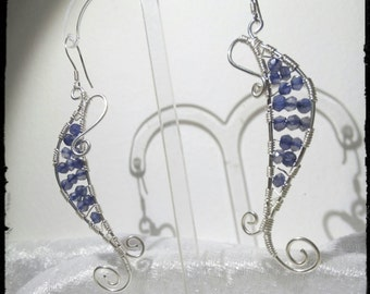 925 sterling silver earrings with Iolite