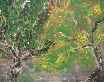 Summer 2, Trees in Season original painting - acrylic on canvas sheet
