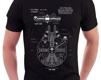 Star Wars Millenium Falcon Patent Print T Shirt, Patent Prints, Patent Art, Star Wars Patent, Star Wars Blueprint, Star Wars Print