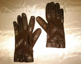 Vintage 1950's - 1960's Brown Isotoner Gloves Soft Leather Design Size Small-Medium