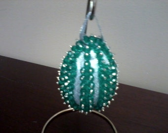 Christmas Ornament - Green/Silver Egg