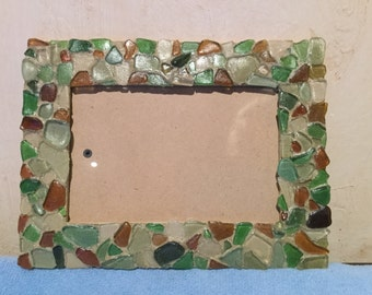 Real Sea glass picture frame 4x6