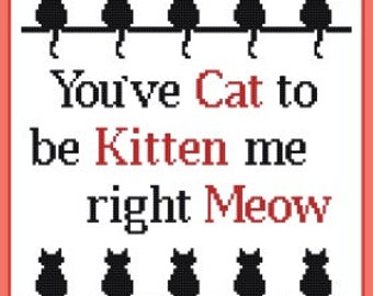 You've Cat to be Kitten me right Meow cross stitch pattern