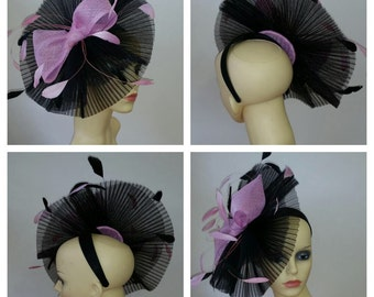 Beautiful Black fascinator with pink bow