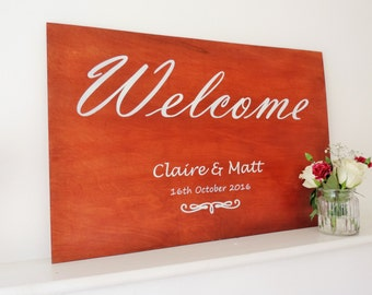 Stained Wood Wedding Welcome Board, Wedding signs, welcome sign, Wedding welcome sign.