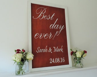 Best Day Ever Personalised Wedding Sign, wedding sign, welcome sign, personalised sign, personalised wedding sign.
