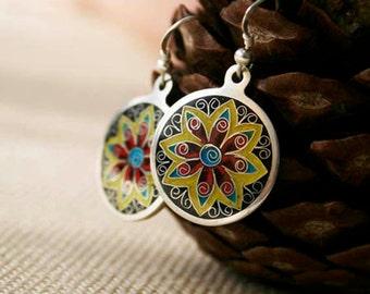 FREE shipping! East Flower Earrings Hot enamel Silver 925 - Floral Earrings - Colorful Earrings - Circle Earrings  FREE shipping!