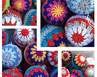 Handmade Crocheted Colourful Christmas Baubles