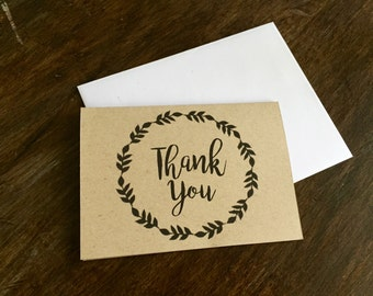 Thank You Cards, Folding Cards, Blank Note Cards, Kraft Paper, Rustic, Simple, Wreath