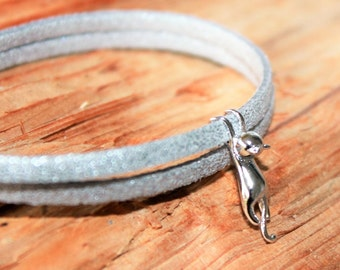Cat bracelet, Sterling Silver cat, gift for women and girls, cat jewelry, cat bracelet