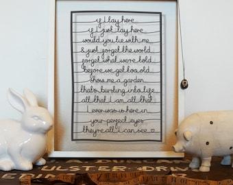 Song Lyrics - Snow Patrol, Chasing Cars - Wedding First Dance Papercut