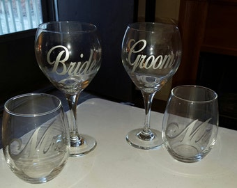 Bride Groom/Mr Mrs Wine Glasses