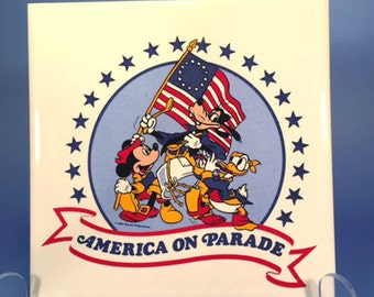 Vintage Mickey Mouse and Friends in an America's Bicentennial Trivet