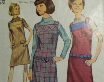 Adorable vintage 1966 Simplicity hip hugger jumper pattern, misses sz 12, 6694