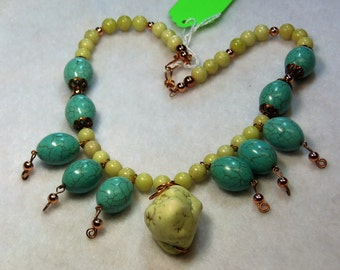 Turquoise and Yellow Howlite Necklace