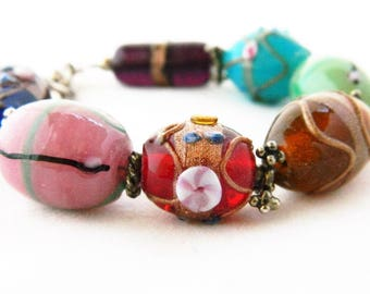 Vintage Chunky Lampwork Glass Breaded Statement Bracelet Painted 8""