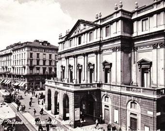 "Vintage Photo Postcard Milano Italy Teatro alla Scala Street Scene 4"" x 6"""
