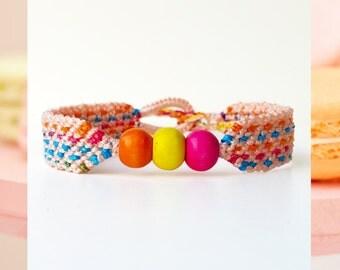 Woven Friendship Bracelet Wooden Beads Cotton Candy Pastel Colors women macrame waterproof simple thin polka dots skinny - Q'enqo Bracelets