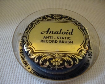 Vintage Round Record Brush Analoid Anit-Static with Case Phonograph