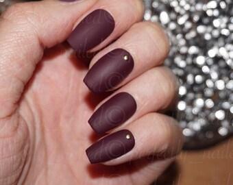 Matte Burgandy Handpainted False Nails • Fake Nails • Press on Nails • Stick on Nails