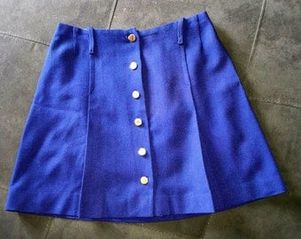 Vintage 1970s Mod Front Pleated Button Down Navy Blue Short Skirt Sz S