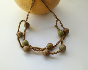 Thread with agates moss green macrame necklace