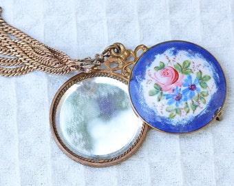 French Porcelain Hidden Mirror Necklace