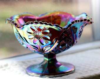 Imperial Glass Amethyst Carnival Glass Pedestal Candy Dish/Bowl