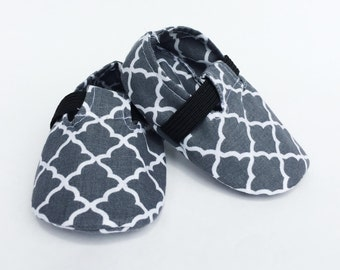 Baby Shoes, Crib Shoes, Baby Booties, Baby Boy Shoes, Baby Boy Booties, Handmade Baby Booties, Moroccan Grey Loafers.