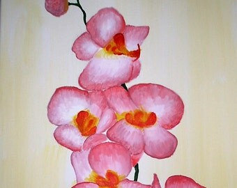 "Pink Orchid - 11"" x 14"" Acrylic on Stretched Canvas, Hand-Painted"