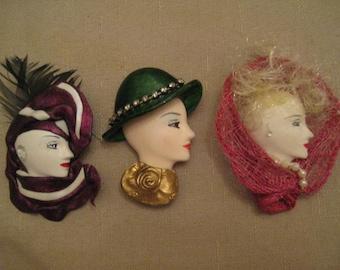 UnWorn VTG 1970 HandmadeWoman Face Brooch CHOOSE No 1 Purple Scarf No 2 Green Hat No 3 Rose Scarf