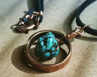 Healing Turquoise and Copper Pendant Necklace.