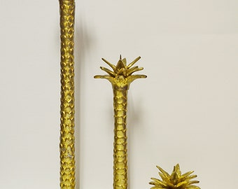 Vintage 3 Piece Maitland Smith Brass Candlestick with Palm Tree Motif