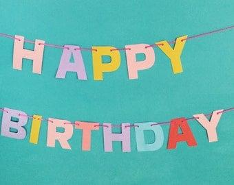 Happy Birthday Banner/ Birthday Bunting/ Party Banner/ Birthday Party Banner
