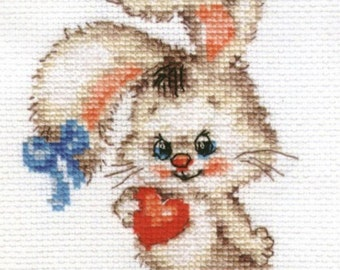 """A Brand New Cross Stitch Kit """"Bunny with Heart"""" ALISA"""