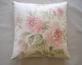 Floral cushion cover with pink roses, a vintage English design made in Sanderson 'Adele'.