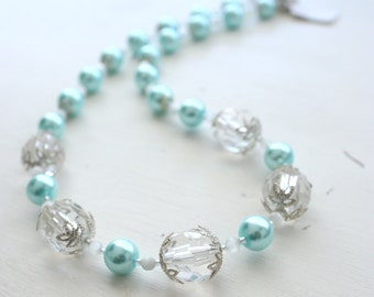 Faux Pearl & Acrylic Bead Necklace