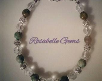 Green Jasper Bracelet, Gemstone Bracelet, Jasper Bracelet, Green Bracelet, Beaded Bracelet, Green Jasper, Gifts for her, Gifts for mum
