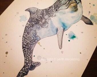 Original Watercolour Boho Dolphin