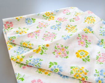 Vintage Bright Floral Flat Sheet (Twin)