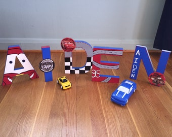 Disney's Pixar Cars Themed Hand Painted Wooden Standing Letters