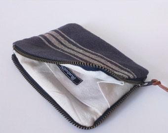 Striped Woven Cotton Coin Purse, Slate grey