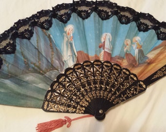Vintage Hand-Held Fan, Religious with Mary
