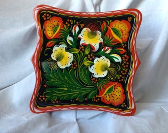 Hand Painted Wooden Tray. Made of Linden Tree . Russian Folk Pattern Khokhloma.