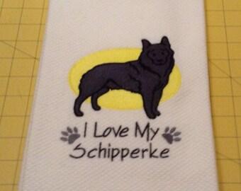 I Love My Schipperke Martha Stewart Collectible Embroidered Kitchen Hand Towel 100% cotton, 20 x 30