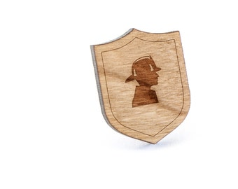 Fire Fighter Lapel Pin, Wooden Pin, Wooden Lapel, Gift For Him or Her, Wedding Gifts, Groomsman Gifts, and Personalized